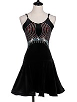 Shall We Latin Dance Dresses Women's Performance Spandex Pleated Crystals/Rhinestones Sleeveless Dress