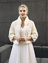 3/4 Length Sleeves Faux Fur Wedding Party / Evening Women's Wrap Shrugs