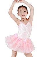 Tenues de Danse pour Enfants Robes Enfant Spectacle Spandex Élastique Elasthanne Tulle Pailleté Lycra Paillette Sans manche Taille basse