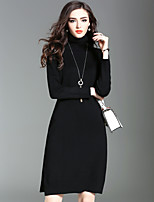 Women's Going out Casual/Daily Street chic Sweater DressSolid Turtleneck Knee-length Long Sleeve 100% Polyester Fall Winter Medium Waist