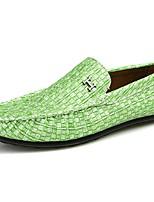 Hombre Zapatos PU Todo el Año Confort Zapatos de taco bajo y Slip-On Para Casual Negro Gris claro Verde claro