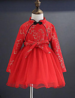 Girl's Daily Going out Patchwork Dress,Rayon Polyester Winter Fall Long Sleeves Chinoiserie Red
