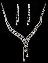 Women's Drop Earrings Necklace Rhinestone Classic Wedding Party Imitation Diamond Alloy Geometric 1 Necklace Earrings