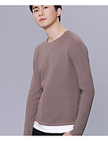 Men's Daily Casual Regular Pullover,Solid Round Neck Long Sleeves Polyester Winter Fall Thick Micro-elastic