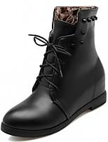preiswerte -Damen Schuhe Kunstleder Winter Frühling Modische Stiefel Stiefeletten Stiefel Runde Zehe Booties / Stiefeletten Für Normal Kleid Weiß