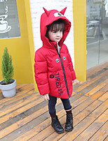 cheap -Girls' Solid Cartoon Down & Cotton Padded,Polyester Long Sleeves Cute Active Black Orange Red