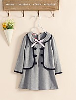 Girl's Sport School Solid Dress,Cotton Polyester Long Sleeves Cute Casual Princess Navy Blue Gray