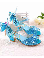 cheap -Girls' Shoes Microfibre Spring Fall Tiny Heels for Teens Sandals For Casual Pink Blue White