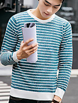 Men's Daily Regular Pullover,Striped Round Neck Long Sleeves Nylon Medium Micro-elastic