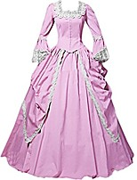 One-Piece/Dress Party Costume Masquerade Steampunk® Elegant Lace-up Victorian Cosplay Lolita Dress Pink Solid Color Vintage Long Sleeves