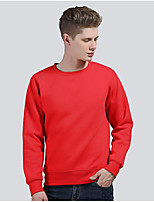 cheap -Men's Daily Hoodie Solid Polyester Long Sleeves
