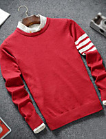 Men's Casual/Daily Regular Pullover,Color Block Round Neck Long Sleeves Others Fall Medium Micro-elastic