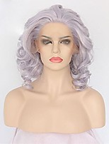 cheap -Short Curly Bob Wigs For Women Purple Lace Front Wigs Glueless Synthetic Wig Women's Heat Resistant Fiber Hair Half Hand Tied