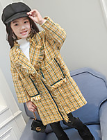 cheap -Girls' Plaid Blouse,Polyester Winter Long Sleeve Cute Yellow