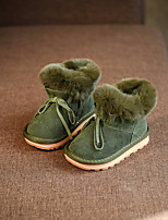 cheap -Girls' Shoes Real Leather Winter Snow Boots Boots Bowknot For Casual Pink Green Black