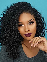 cheap -Short Curly Lace Front Wig 100% Human Virgin Hair 130% Density Natural Color Wig for Black Women
