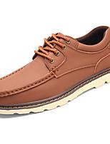 Для мужчин обувь Полиуретан Весна Осень Удобная обувь Туфли на шнуровке Назначение Черный Темно-русый Темно-коричневый