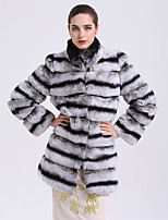 BF-Fur Style Women's Going out Simple Winter Fur Coat,Striped V Neck Long Sleeves Regular Faux Fur