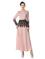 Women's Daily Going out Vintage Street chic A Line Sheath Dress,Solid Hollow Round Neck Maxi Long Sleeve Cotton Linen Polyester Winter