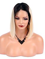 economico -Donna Parrucche di capelli umani con retina Brasiliano Remy Lace frontale 130% Densità Taglio medio corto Dritto Parrucca Nero / Bleach