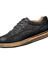 Недорогие -Для мужчин обувь Натуральная кожа Весна Осень Светодиодные подошвы Кеды Назначение Повседневные Черный Коричневый Хаки