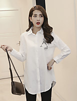 cheap -Women's Daily Street chic Shirt,Solid Print Shirt Collar Long Sleeves Cotton