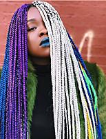 billige -Forhæklede fletninger 1pc / pakke Hårkrøller Boks Fletninger Afro Ny ankomst Afrikanske fletninger Syntetisk Hår Bourgogne Blå Gul