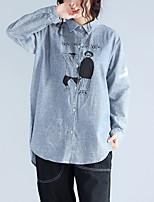 Недорогие -Для женщин На каждый день Рубашка Рубашечный воротник,Уличный стиль С принтом Хлопок