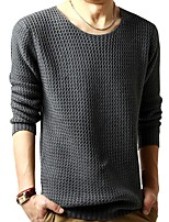 Men's Casual/Daily Casual Regular PulloverSolid Round Neck Long Sleeves Cotton Spring/Fall Winter Medium Micro-elastic