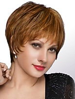 Women Human Hair Capless Wigs Strawberry Blonde/Light Blonde Medium Auburn Black Short Straight Side Part