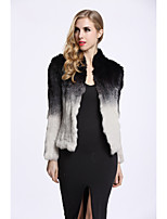 Women's Party Simple Casual Winter Fall Fur Coat,Color Block Long Sleeves Regular Faux Fur