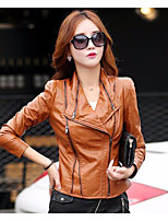 Women's Casual/Daily Simple Fall Leather Jacket,Solid Shirt Collar Long Sleeve Regular Wool