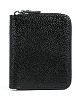 Men Bags Cowhide Wallet Zipper for Shopping Casual All Season Black