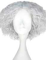 cheap -Men Adult Short Kinky Curly Hair Unisex Sliver Gray Color Wig Movie Role Play Hair Cosplay Wigs Halloween