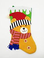 tela no tejida grande calcetín de navidad ornamento de navidad oso