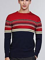Для мужчин На каждый день Обычный Пуловер С принтом,Круглый вырез Длинный рукав Хлопок Средняя Слабоэластичная