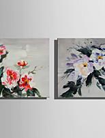 economico -Dipinta a mano Floreale/Botanical Rustico Modern Due Pannelli Tela Hang-Dipinto ad olio For Decorazioni per la casa
