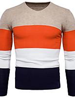 Для мужчин На каждый день Большие размеры Простой Обычный Пуловер Контрастных цветов,V-образный вырез Длинный рукав Хлопок Спандекс Осень