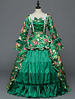 Victorian Rococo Costume Female Adults' Party Costume Masquerade Green Vintage Cosplay Stretch Satin Satin Long Sleeves Floor Length