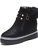 preiswerte -Damen Schuhe PU Winter Springerstiefel Stiefel Niedriger Heel Runde Zehe Mittelhohe Stiefel Perle Für Normal Schwarz Braun Armeegrün