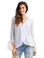 Women's Holiday Going out Sexy Shirt,Solid V Neck Long Sleeves Polyester Spandex Medium