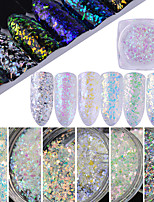 0.5g/Bottle Nail Art Beauty Glitter Xmas Snowflake Flake Sequin Holographic Sparkling Irregular Glass Flake Galaxy Paillette Nail DIY Decoration SH1-6