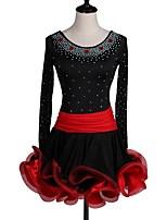 Shall We Latin Dance Dresses Women's Performance Spandex Crystals/Rhinestones Cascading Ruffles Long Sleeve Dress