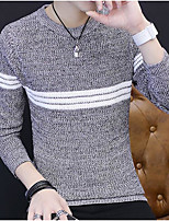 Men's Others Casual Regular Pullover,Striped Round Neck Long Sleeves Polyester Autumn/Fall Medium Micro-elastic