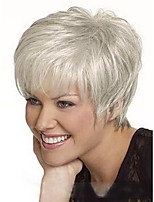 cheap -Women Human Hair Capless Wigs Strawberry Blonde/Light Blonde White Medium Auburn Natural Black Short Straight Side Part
