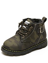 cheap -Boys' Shoes PU Fall Winter Fluff Lining Comfort Boots Booties/Ankle Boots For Casual Outdoor Army Green Black
