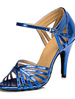 Women's Latin Leatherette Sandal Sneaker Professional Chunky Heel Blue Red Gold