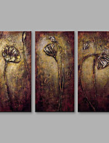 cheap -Hand-Painted Floral/Botanical Horizontal,Modern Three Panels Canvas Oil Painting For Home Decoration