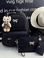 Women Bags All Season PU Bag Set 3 Pcs Purse Set Zipper for Casual Black Blushing Pink Gray