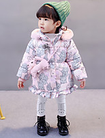cheap -Girls' Floral Prints Down & Cotton Padded,Cotton Polyester Long Sleeves Casual Blushing Pink Navy Blue